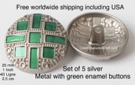 Silver and green buttons, Green buttons, Silver jacket buttons, Free worldwide shipping